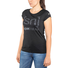 super.natural Graphic Tee 140 Damen jet black/logo arabesque print